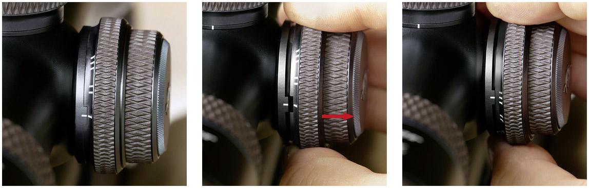Gros plan sur la tourelle de réglage du parallaxe lunette blaser infinity
