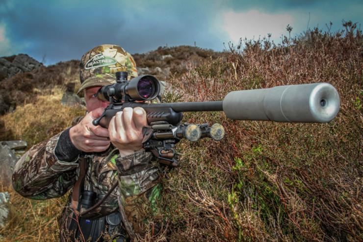 Modérateur pour carabine de chasse bi-pied