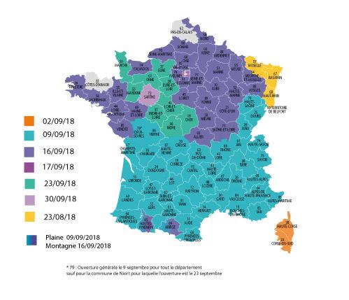 Dates ouverture générale chasse 2018