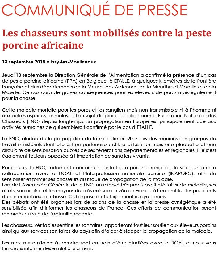 Peste Porcine Africaine, la FNC communique d'un premier cas en Belgique
