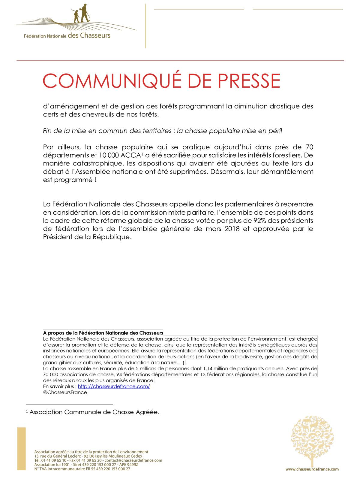Notre Président Willy - Page 2 Communiqu20Projet20de20loi20Chasse20au20Snat20-201220avril202019-2