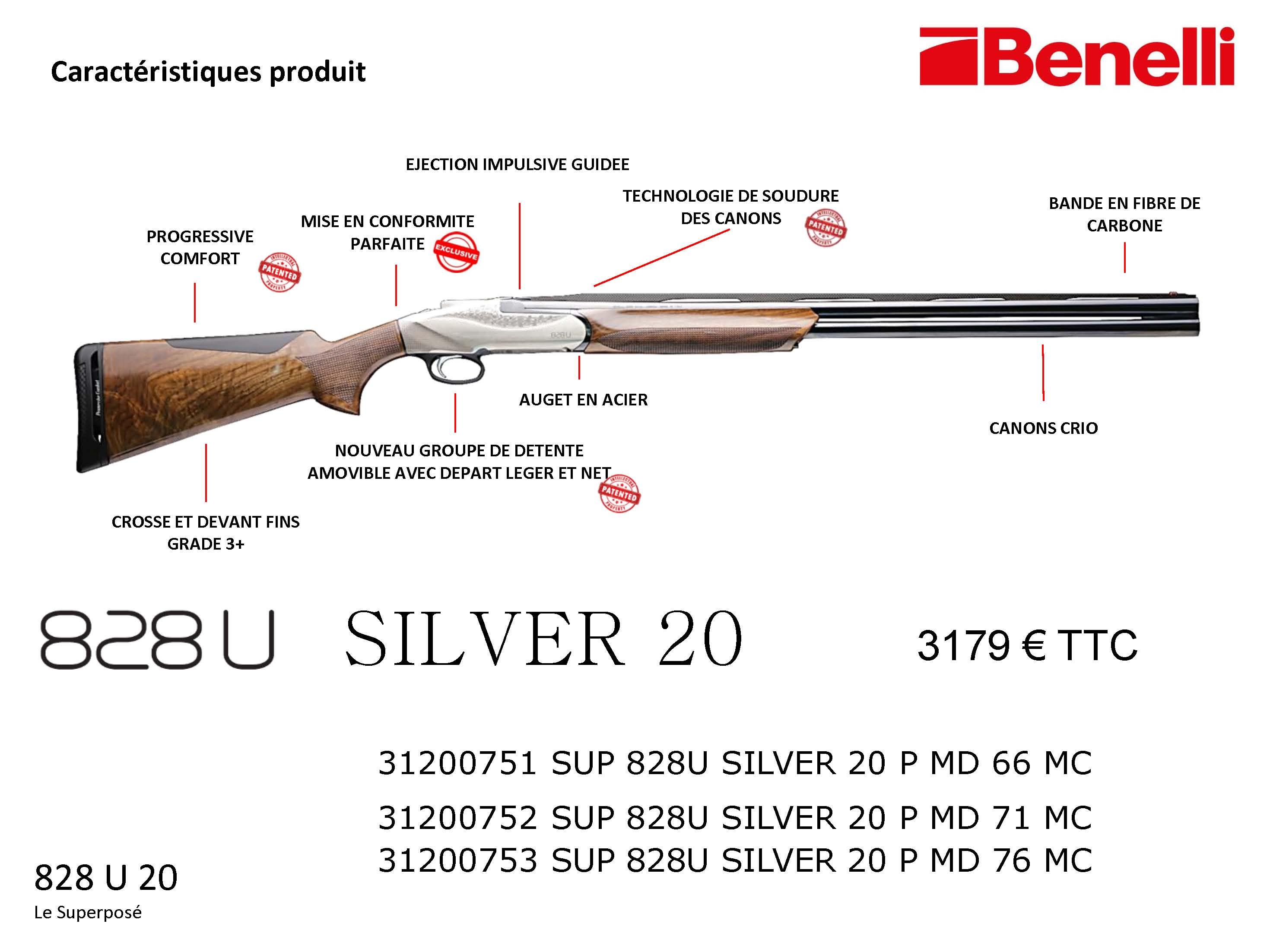 Nouveau Benelli 828U Silver 20